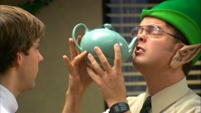 Dwight demonstrates the neti pot.