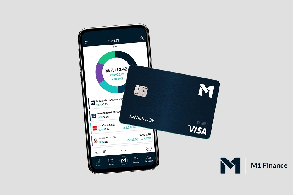 M1 Finance Review 2021 image of smartphone app and debit card and logo.