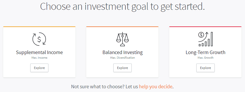 Fundrise Review: Choose an investment goal to get started.