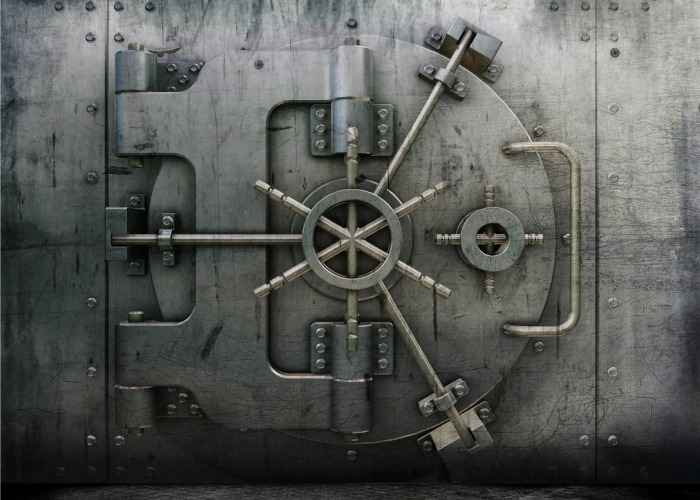 A bank vault providing financial security.