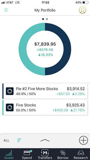 M1 Finance review mobile app main portfolio view.