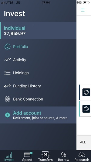 The mobile app Invest Menu screen capture.
