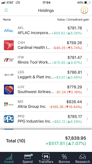 The mobile app holdings screen capture