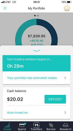 The mobile app review next trading window screen capture.