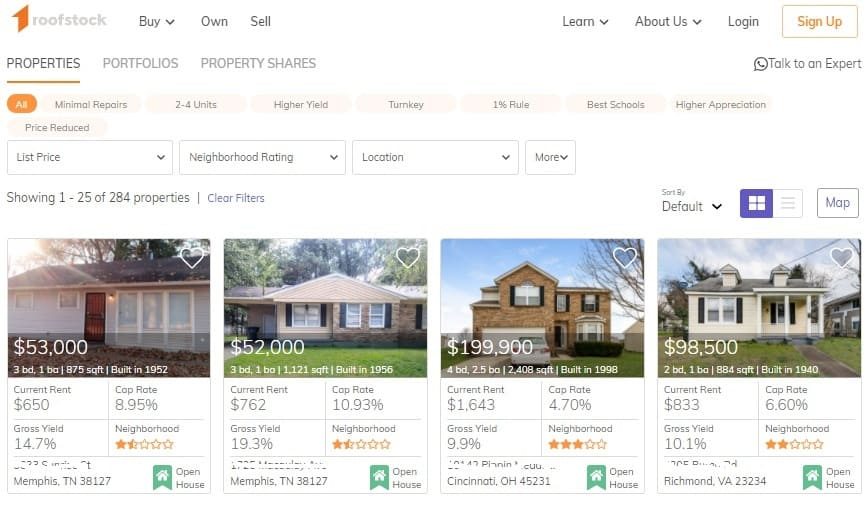Example of Roofstock Marketplace browsing screen.