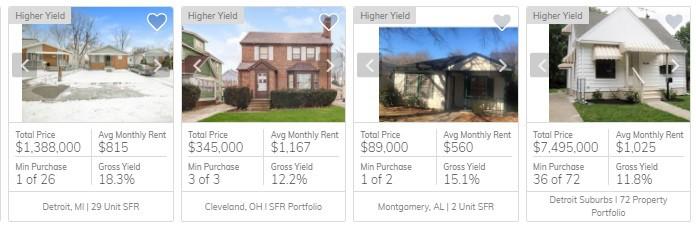 Portfolios - four example listings