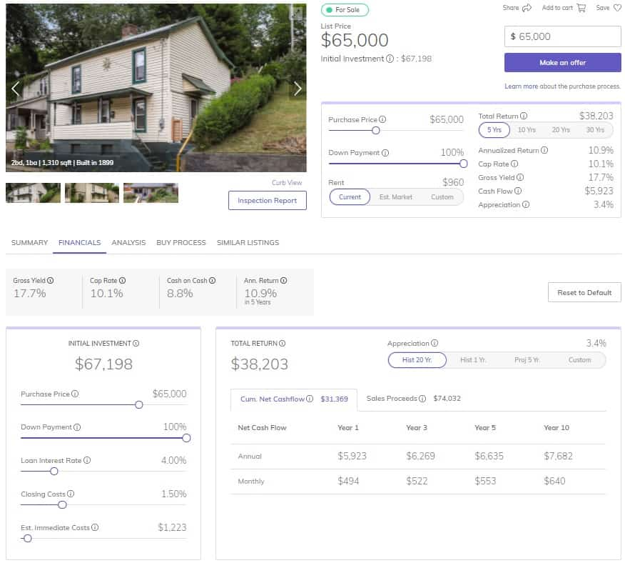 Roofstock review example of a single-family rental property for sale.