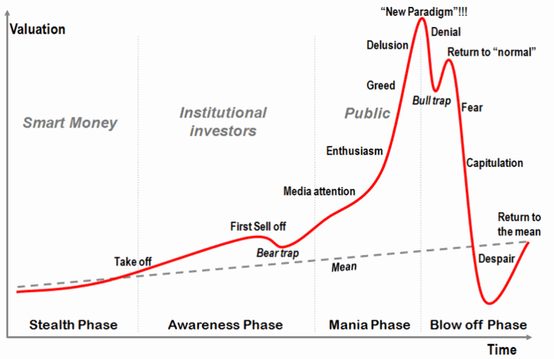 The stages of a bubble chart, used to help explain Bitcoin as an alternative investment idea.