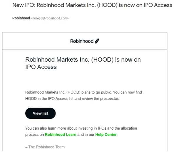 Screen capture of Robinhood IPO participation email to customers.