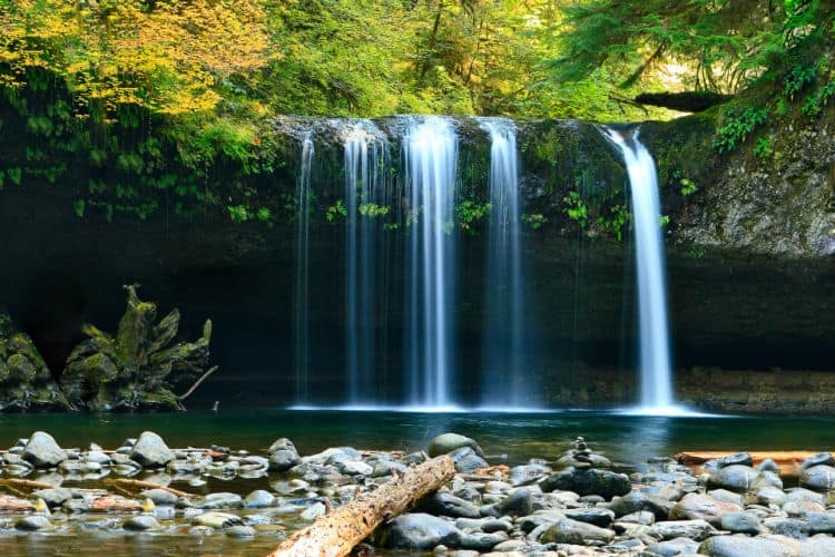 Photo of waterfall. Living a single income lifestyle with multiple income streams.